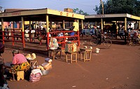 Tamale bus station vendors at sunrise, Ghana