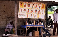 Traditional healer stand, from Docteur Yaw Mensah Ziare, in an open market in Zebille, Ghana.