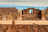 Tiahuanaco ruins. La Paz Department. Bolivia. Southamerica.