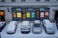 Storefront in winter, Prague, Czech Republic