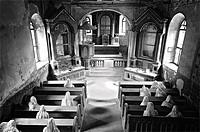 Ghost Mourners, St. George´s ghost church, art installation, Luková, Bohemia, Czech Republic