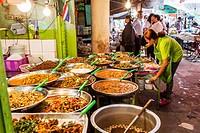 Food market near Tha Chang Pier No 9, Bangkok, Thailand