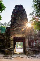 West gate at Prasat Preah Khan temple ruins, Angkor, UNESCO World Heritage Site, Siem Reap Province, Cambodia.