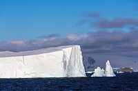 The icebergs and mountains of Admiralty Bay, King George Island, Antarctica.