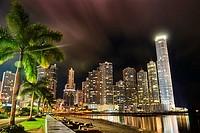 Punta Paitilla at Night, Panama City, Republic of Panama, Central America