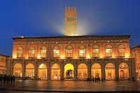 Piazza Maggiore at Night, Bologna, Italy.