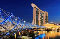 Marina Bay Sands and Helix Bridge at Dusk, Singapore.