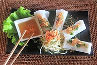 Upscale spring rolls dish at Mango Bay Resort, Pho Quoc island, Vietnam, Asia.