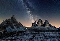 Tre Cime di Lavaredo, Drei Zinnen, Three peaks of Lavaredo, Dolomites, South Tyrol, Veneto, Italy. Tre Cime di Lavaredo, Paterno and Milky Way.