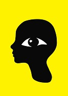 A retro graphic profile portrait with a large eye watching the viewer.