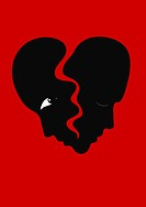 Two faces as a heart about to break. Illustration of a separation.