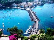 Ischia Ponte, Ischia Island, Naples, Campania, Italy, panoramic view from the top of the Aragonese Castle (Castello Aragonese).