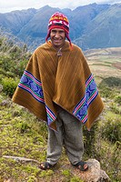 Peruvian farmer in the hills above the village of Misminay, Peru.