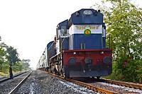Train on Railroad track, Pune, Maharashtra, India.