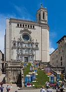 CATHEDRAL OF GIRONA IN THE FLORAL ART EXHIBITION IN GIRONA. CATALONIA. SPAIN.