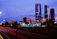 M-30 motorway and Four Towers, night view. Madrid, Spain.