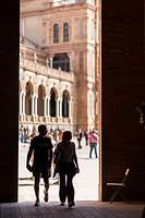 People entering Plaza de España square, Seville.