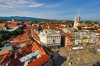 General city skyline view with Zagreb Cathedral and Ban Jelacic Square in Zagreb, Croatia.