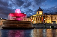 The National Gallery on Trafalgar Square at night, London, England