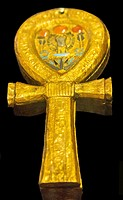 Egypt, Cairo, Egyptian Museum, Tutankhamon jewellery, from his tomb in Luxor : Mirror case in the shape of an Ankh sign.