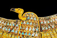 Egypt, Cairo, Egyptian Museum, Tutankhamon jewellery, from his tomb in Luxor : A vulture collar representing the goddess Nekhbet.