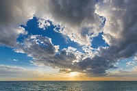 Later afternoon dramatic sunset sky over the Gulf of Mexico from Caspersen Beach in Venice Florida.