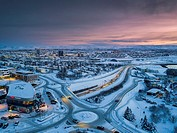 Snowy view of a suburb of Reykjvik, Kopavogur, Iceland. This image is shot using a drone.