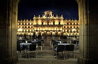 Night shoot in the Plaza Mayor of Salamanca, Spain.
