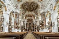 interior of the Basilica, Ottobeuren Abbey, Allgäu, Bavaria, Germany.