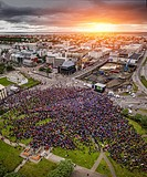 Crowds in downtown Reykjavik watching Iceland vs England in the UEFA Euro 2016 football tournament, Reykjavik, Iceland. Iceland won 2-1. June 27, 2016...