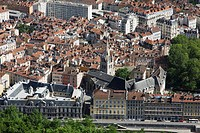 Old city center of Grenoble, Historic downtown, Isere, Auvergne Rhone Alpes, France.