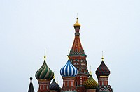 Saint Basil´s Cathedral on Moscow Red Square background.