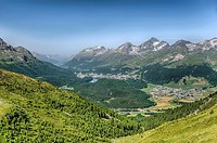 View from the Segantini Hut into the Engadine Valley towards St. Moritz, Grisons, Switzerland.