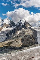 Piz Roseg, Sellagletscher und Piz Bernina seen from Piz Corvatsch Mountain Station, Grisons, Switzerland.
