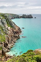 View over the coastline near Porthcurno, Cornwall, England, UK.
