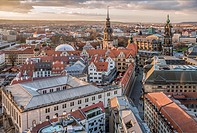 View over the old town and Dresden skyline at dawn, Saxony, Germany.