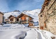 Heidi Village Grevasalvas in Winter, Engadine, Grisons, Switzerland.