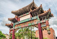 The Archway at Manchester Chinatown, England, United Kingdom. Manchester´s Chinatown is the second largest Chinatown in the United Kingdom and the thi...