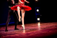 Legs of a male and female ballet dancers during a dance performance.