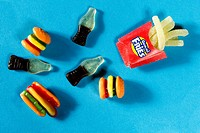 An array of festive summer holiday inspired Gummie candies, from coca-cola bottles to french fries.