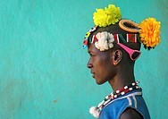Ethiopia, Omo Valley, Key Afer, profile of a bana tribe man with plastic flowers in the hair.