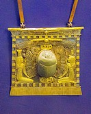 Egypt, Cairo, Egyptian Museum, jewellery found in the royal necropolis of Tanis, burial of king Chechonq II : Pectoral in the form of a temple pylon, ...