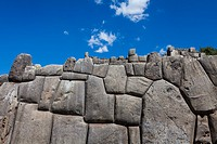 Precision fitted stonework of the massive Sacsayhuaman Incan fortress walls at Cusco, Peru.