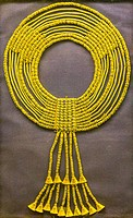 Egypt, Cairo, Egyptian Museum, jewellery found in the royal necropolis of Tanis, burial of the king Amenemope : Shebiu collar.