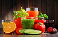 Glasses with fresh organic vegetable and fruit juices. Detox diet.