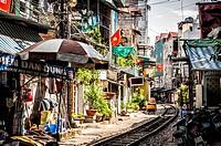 Railway passing through Hoan Kiem District, Hanoi, Vietnam.