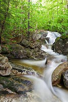 Clough Mine Brook, a tributary of Lost River, in Kinsman Notch of Woodstock, New Hampshire USA during the spring months.