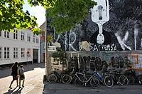 mural painting in Graven street, Aarhus, Jutland Peninsula, Denmark, Northern Europe.