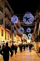 Street on the Downtown with Christmas decoration. Salamanca, Spain