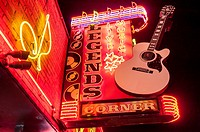 Lighted store signage in Nashville, Tennessee.